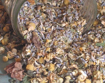 Organic Lavender Chamomile Sleepy Time Herbal Tea - 1 oz. Bulk - Farm grown- Featured on ETSYLUSH.com