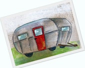 Silver bullet Trailer - multimedia acrylic painting print- summer travel - 4x6 print mounted on cardstock
