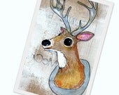 Deer mounted on the wall --- multimedia acrylic painting print- spring weather - 5x7 prints on high quality cardstock