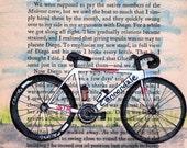 bike is for Serious biker man - white cannondale bike print in 5x7 for the triathlete, road racer, danger lover