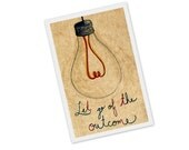 light bulb: Let go of the outcome - print of an original drawing of a bright idea - lightbulb included