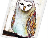 owl print barn owl 4x6 photo PRINT of  painting - winter bird with colorful feathers on his wings FREE SHIPPING
