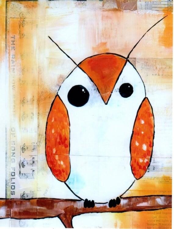 owls print- Set of 2 Orange barn owl prints --- 4x6 --- original art print- burnt orange, white and black owls on multimedia paper