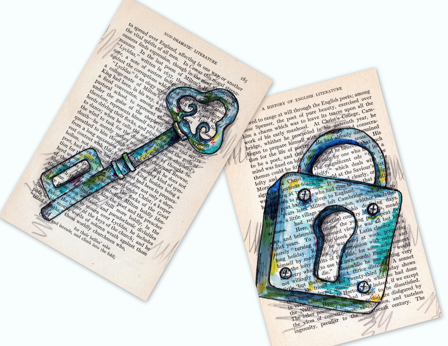 Skeleton Key Lock And Key Pen And Ink And Pencil 2 By Cookstah