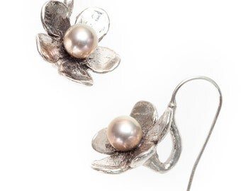 "flower silver earrings with fresh water pearls ""cherry blossom"""