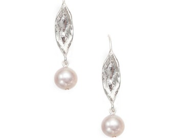 leaf silver earrings with fresh water pearls