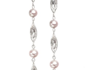 leaf silver earrings with fresh water pearls (long)