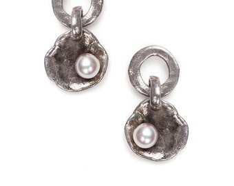 oyster shell silver earrings with fresh water pearls