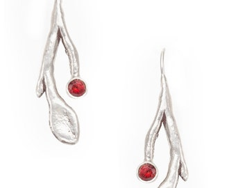 stem, leaf, and berry silver earrings with red garnets