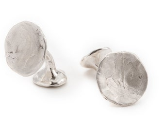"unisex silver cufflinks. concave shape, texture.  ""the offering"""