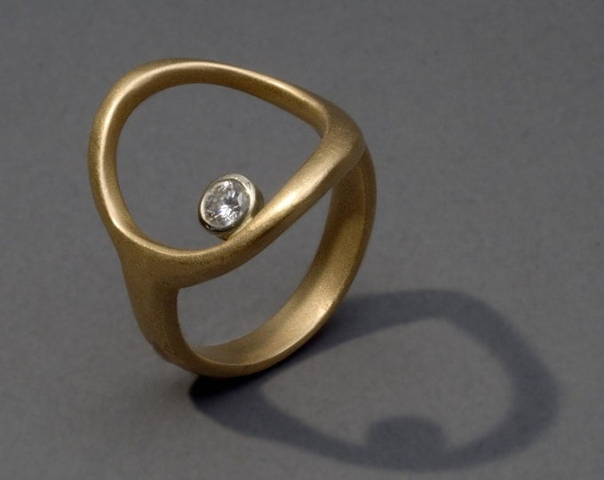 """Featured listing image: open circle 18K gold ring with diamond. """"a guiding star"""""""