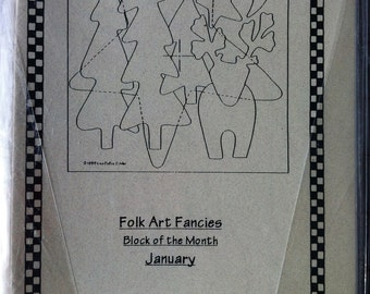 Folk Art Fancies Block of the Month Applique Quilt Pattern - Complete Set of Patterns for all the Blocks