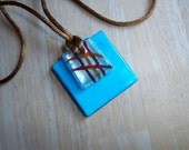 Glass Pendant Necklace - Turquoise and Brown Necklace