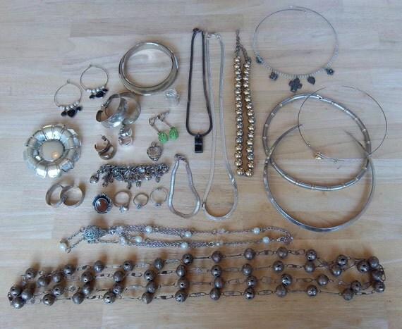 Repurpose Jewelry Lot - Destash Jewelry Lot - Mostly Metal