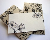 Black Floral Mini Cards and Envelopes, Gift Enclosure, Gift Card Holder, Set of 10