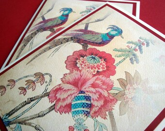 Vintage Bird and Flower Note Cards - Set of 4