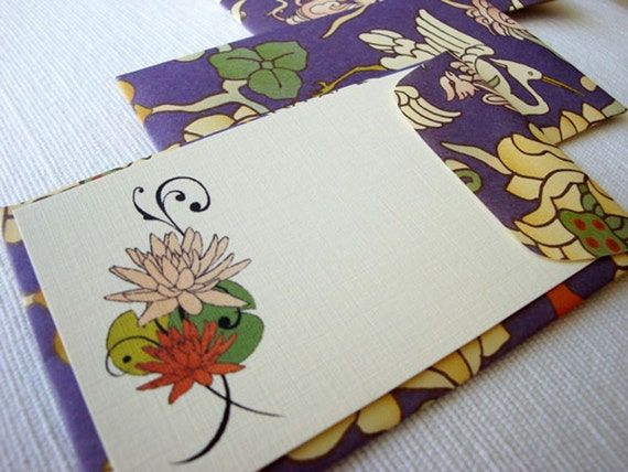 Lotus and Crane Mini Cards and Envelopes - Set of 7