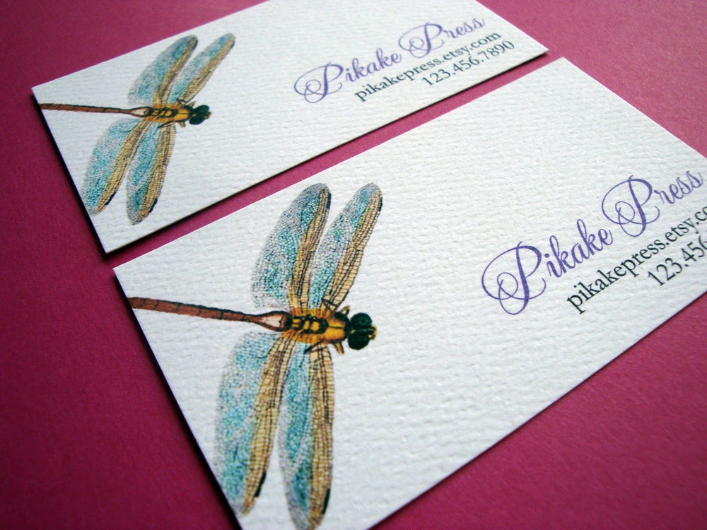 Business cards calling cards dragonfly set of 50 for Dragonfly business cards