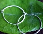 Encircled- Sterling silver hoop earrings- handformed jewelry- minimalist jewelry- simple hoop earrings- thin hoop earrings- lightweight hoop