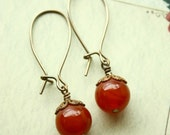 15% off: Cherry Bomb- Earrings of Carnelian and brass