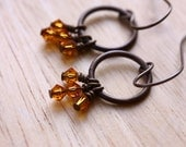 15% off: Summer sun earrings- Topaz Swarovski crystal and eco brass