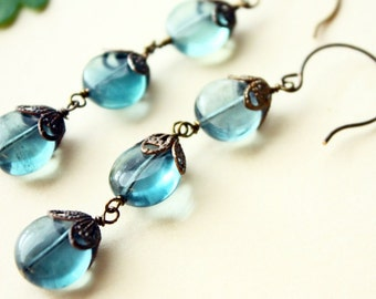 Fluorite earrings with brass filigree and components