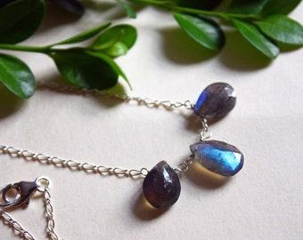 Labradorite briolette trio on sterling silver chain