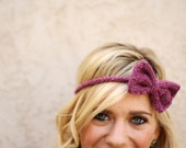 the BOHO BOW headband / color raspberry