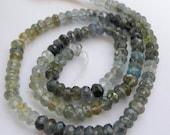 Moss Aquamarine Faceted Gemstone Rondelles 4mm Half Strand