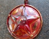 Copper Pendant Copper Circle With Star Focal Large Rustic  Patina 35mm