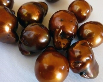 Brown Freshwater Baroque Pearls Nucleated Copper Brown Large 18mm 5 Pieces