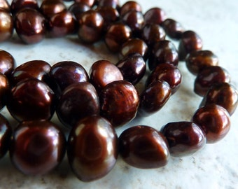 Brown Freshwater Pearls 7mm-8mm  Nugget Full Strand
