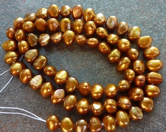 Freshwater Pearls 5mm-6mm  Brass Bronze Brown Nugget Full Strand