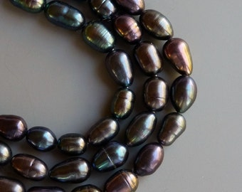 Freshwater Rice Pearls Fresh Water Pearls Peacock 5mm  4mm  Full Strand