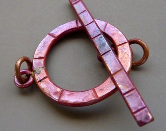 Solid Copper Findings Toggle Clasp Red Patina Large 30mm