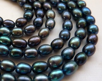 Freshwater Rice Pearls 6mm 7mm Peacock -  Full Strand
