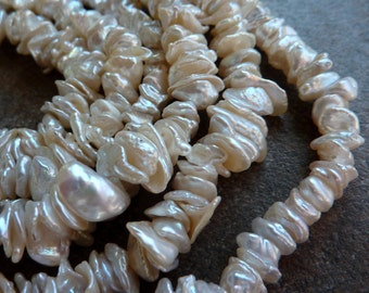 Keishi Pearls White Pearls Center Drill 8mm 9mm Full Strand