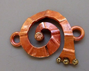 Solid Copper Connector Spiral Brass Dot Patina 23mm