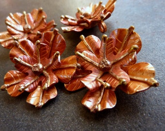 Copper Pendant Copper Flower Hand Crafted 30mm