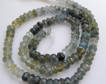 Moss Aquamarine Faceted Gemstone Rondelles 4mm Half Strand