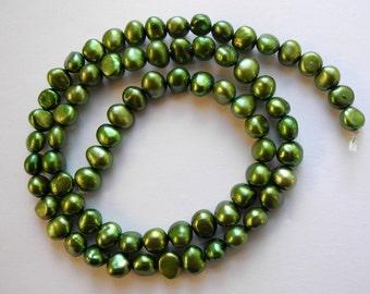 Freshwater Pearls Spring Grass Green 5-6mm Full Strand