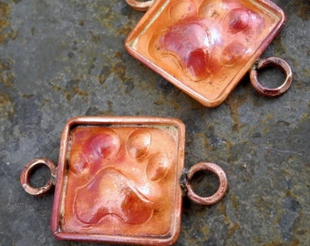 Solid Copper Connector Paws Dog Cat Paw Prints 28mm 17mm