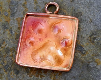 Solid Copper Charm Pendant Paws Dog Cat Paw Prints 22mm 17mm