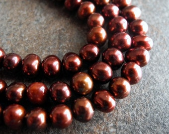Freshwater Pearl Beads  Potato Earth Tone Dark Brown Chocolate Red Brown 6mm 5mm Full Strand