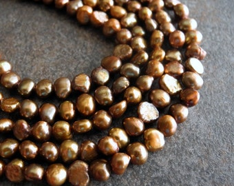 Pearls Copper  Brown Earth Tones 5mm