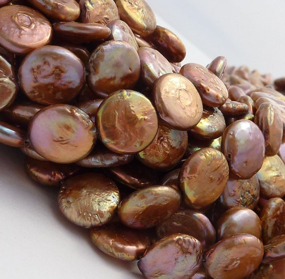 Freshwater Pearls Coin Pearl  Brown Bronze 9mm 10mm Full Strand SALE