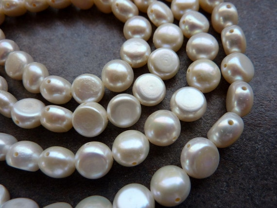 White Button Freshwater Pearls Double Drilled 9mm Half Strand