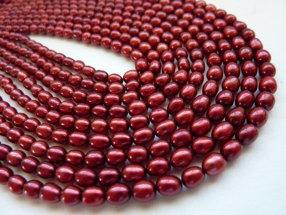 Freshwater Rice Pearls  6mm Cranberry Red Full Strand