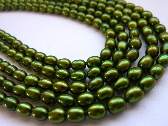 Freshwater Rice Pearls 6mm Grass Emerald Green Full Strand Potty Mouth Gems