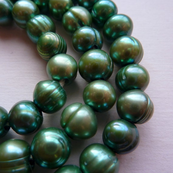 Pearls Extra Large Hole Green Baroque Potato 10mm  8mm 23 Pieces